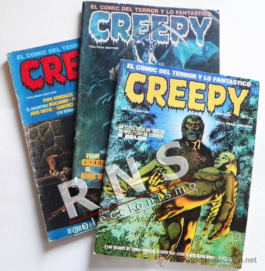 LOTE CREEPY 16 39 54 - CÓMIC PARA ADULTOS - TERROR FANTASÍA - TOUTAIN - FONT BLASCO BERNET ETC (Tebeos y Comics - Toutain - Creepy)
