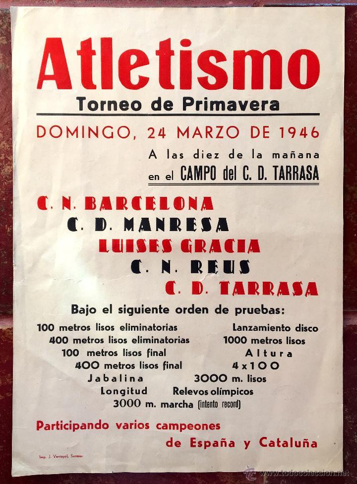 CARTEL PUBLICIDAD ATLETISMO 1946 TORNEO CN BARCELONA MANRESA LUISES GRACIA REUS TERRASSA TARRASA (6, (Tebeos y Comics - Toutain - 1984)
