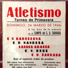 Cómics: CARTEL PUBLICIDAD ATLETISMO 1946 TORNEO CN BARCELONA MANRESA LUISES GRACIA REUS TERRASSA TARRASA (6,. Lote 52856210