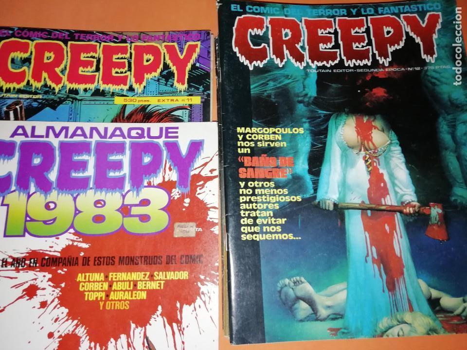 CREEPY. LOTE 2ª EPOCA. Nº 12, (49,50,51,52) 57,58,61,64,65,67,68,69,70,71,72,73,74 Y ALMANAQUE 1983 (Tebeos y Comics - Toutain - Creepy)