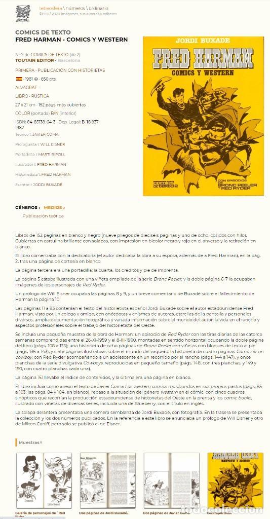 Cómics: Fred Harman. Comics y Western. Jordi Buixade. Toutain - Foto 2 - 207339902