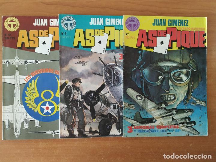 LOTE DE 3 COMICS AS DE PIQUE. JUAN GIMÉNEZ. RICARDO BARREIRO. TOUTAIN EDITOR. Nº 1, 3 Y 10. (Tebeos y Comics - Toutain - Otros)