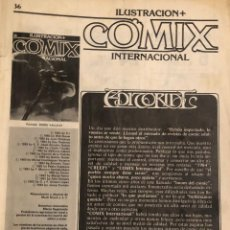 Cómics: 'ILUSTRACIÓN + COMIX INTERNACIONAL', Nº 36. TOUTAIN EDITOR. 1983. SIN PORTADA.. Lote 222655245