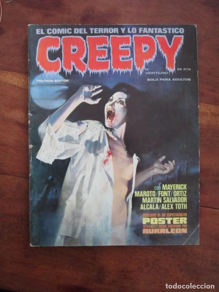 CREEPY Nº 21. EL COMIC DEL TERROR Y LO FANTÁSTICO. TOUTAIN EDITOR 1984 INCLUYE POSTER DE AURALEON (Tebeos y Comics - Toutain - Creepy)