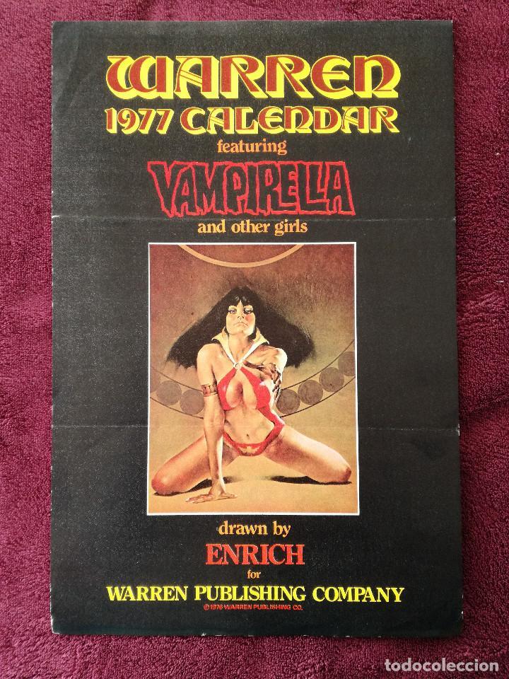 WARREN 1977 CALENDAR VAMPIRELLA - ENRICH - CARTEL PUBLICITARIO 32 X 21 (Tebeos y Comics - Toutain - Otros)