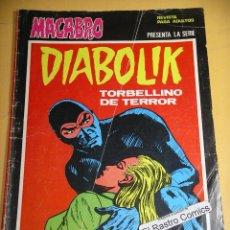 Cómics: MACABRO Nº 28, PRESENTA, DIABOLIK, TORBELLINO DE TERROR, ED. URSUS, AÑO 1977, MUY DIFICIL. Lote 141955838