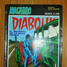 Cómics: MACABRO. Nº 27 : DIABOLIK : EL SECRETO DE LA ROCA NEGRA. Lote 147586006