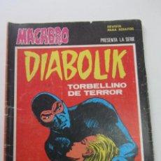 Cómics: MACABRO. DIABOLIK Nº 28. TORBELLINO DE TERROR. URSUS MUY DIFICIL CX73. Lote 221382132