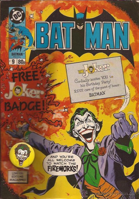 COMIC-BATMAN NUM. 9-UK-LONDON EDITIONS-1989-INCLUYE CHAPA JOKER- (Tebeos y Comics - Comics Lengua Extranjera - Comics USA)