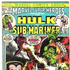Cómics: MARVEL SUPER-HEROES #33 - HULK & SUB-MARINER -1972 . Lote 89106300