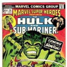 Cómics: MARVEL SUPER-HEROS FT. 1973 THE INCREDIBLE HULK AND SUB-MARINER #36 . Lote 89470480