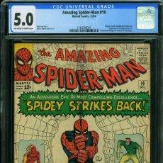 Cómics: AMAZING SPIDER-MAN 19 CGC 5.0 (VG / FN) COMIC USA SPIDERMAN. MARVEL 1964. STAN LEE. DITKO. Lote 128486215