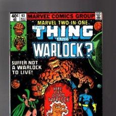 Cómics: MARVEL TWO IN ONE 63 VFN- 1980 / THING & WARLOCK ? / MOONDRAGON / STARHAWK / HIGH EVOLUTIONARY. Lote 195353937