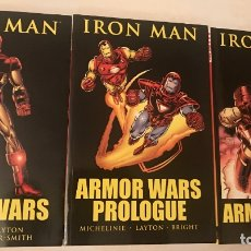 Cómics: IRON MAN 3 TPBS: ARMOR WARS PROLOGUE, ARMOR WARS & ARMOR WARS II - (NEAT MINT 9.4). Lote 175215405