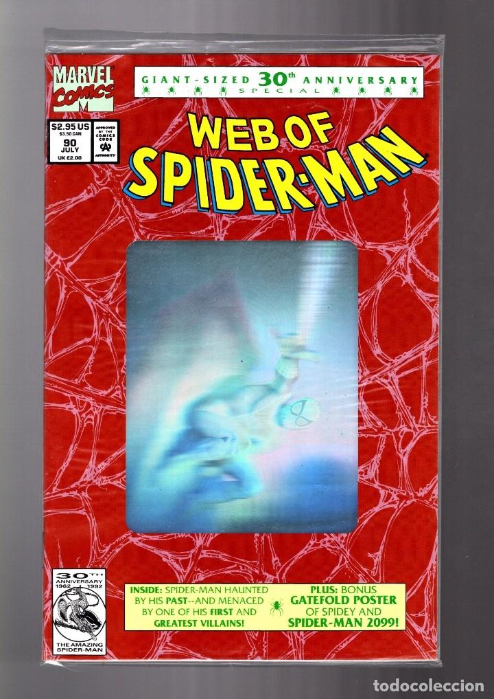 WEB OF SPIDER-MAN 90 - MARVEL 1992 NM HOLOGRAM COVER / EN BOLSA SIN ABRIR CON POSTER (Tebeos y Comics - Comics Lengua Extranjera - Comics USA)