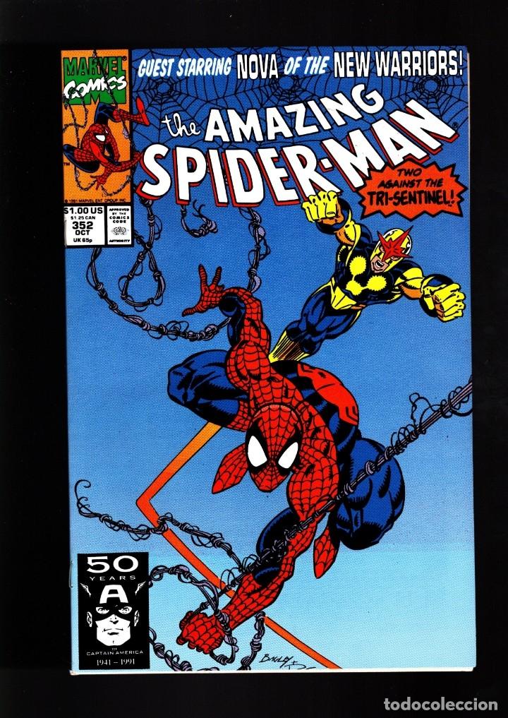 AMAZING SPIDER-MAN 352 - MARVEL 1990 VFN/NM / DAVID MICHELINIE & MARK BAGLEY / NOVA (Tebeos y Comics - Comics Lengua Extranjera - Comics USA)