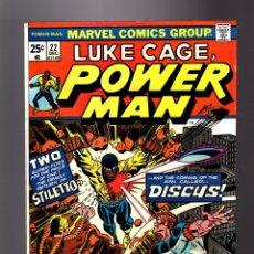 Cómics: POWER-MAN / LUKE CAGE HERO FOR HIRE 22 - MARVEL 1974 FN/VFN. Lote 181865145