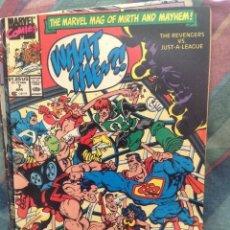Cómics: WHAT THE? #7 APRIL 1990 MARVEL COMICS THE REVENGERS VS JUST-A-LEAGUE. Lote 191266785