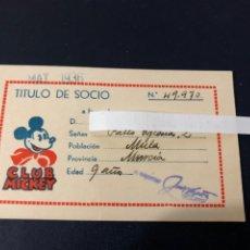 Cómics: MICKEY MOUSE TITULO DE SOCIO 1936 CLUB MICKEY. Lote 222858965