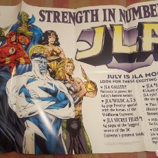 Cómics: JLA PROMO POSTER 1997 HUGE PROMO POSTER DC COMICS SUPERMAN/FLASH/BATMAN - STRENGTH IN NUMBERS. Lote 261631410