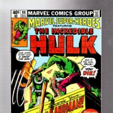 Cómics: MARVEL SUPER HEROES 88 / INCREDIBLE HULK 138 - MARVEL 1980 VFN+ / VS SANDMAN. Lote 266129248