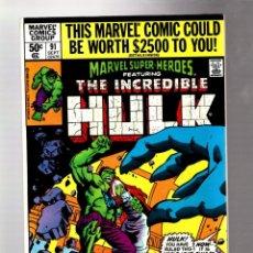 Cómics: MARVEL SUPER HEROES 91 / INCREDIBLE HULK 140 - 1980 VFN+ / HARLAN ELLISON / JARELLA. Lote 266130143