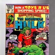 Cómics: MARVEL SUPER HEROES 92 / INCREDIBLE HULK 141 - 1980 VFN+ / 1ST DOC SAMSON. Lote 266130473