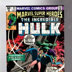 Cómics: MARVEL SUPER HEROES 93 / INCREDIBLE HULK 142 - 1980 VFN+ / 1ST VALKYRIE. Lote 266130768