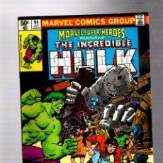 Cómics: MARVEL SUPER HEROES 94 / INCREDIBLE HULK 145 - 1980 VFN+. Lote 266130948