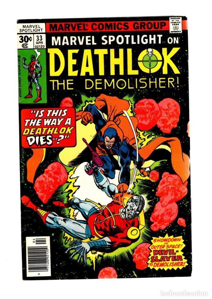 MARVEL SPOTLIGHT 33 DEATHLOK VS DEVIL-SLAYER - 1977 FN+ (Tebeos y Comics - Comics Lengua Extranjera - Comics USA)