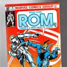 Comics: ROM SPACEKNIGHT 21 - MARVEL 1981 VFN- / BILL MANTLO & SAL BUSCEMA / TORPEDO. Lote 266769194