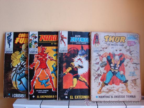 MARVEL. 4 COMIC VERTICE: CORONEL FURIA Nº 15-DAN DEFENSOR Nº 16-THOR Nº 18-PATRULLA X Nº 23 AÑO 1971 (Tebeos y Comics - Vértice - Dan Defensor)