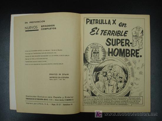 Cómics: PATRULLA X. X MEN. EPISODIOS COMPLETOS. EDICIÓN ESPECIAL. EL TERRIBLE SUPERHOMBRE. 20,5 CM. 128 PÁG. - Foto 2 - 20450425