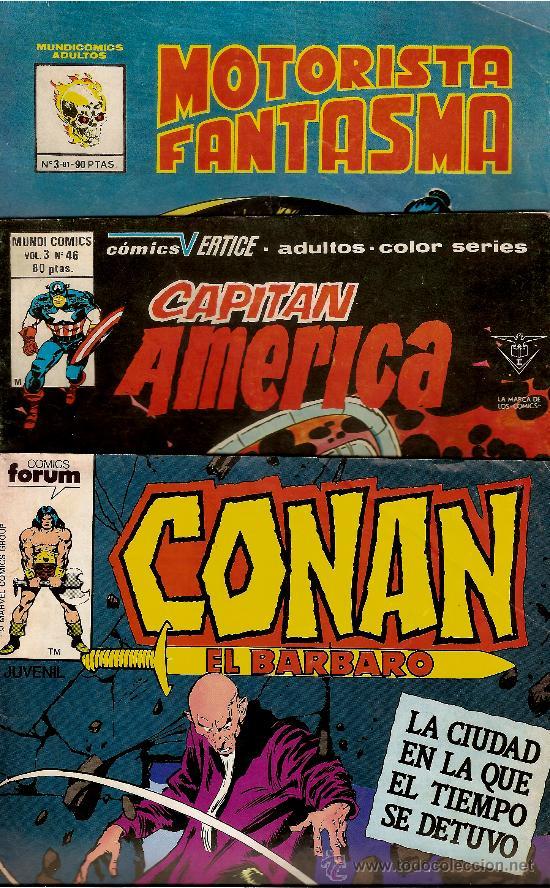 LOTE DE 3 TEBEOS,CONAN,ELCAPITAN A Y EL MOTORISTA F (Tebeos y Comics - Vértice - Capitán América)