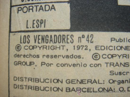 Cómics: LOS VENGADORES, VÉRTICE, VOLUMEN 1, NÚMERO 42, CARRERA HACIA LAS ESTRELLAS, AÑO 1972 - Foto 4 - 31798079