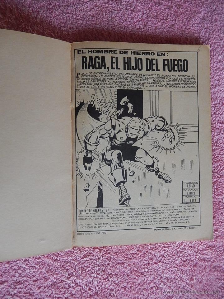 Cómics: el hombre de hierro 27 ediciones vertice 1973 raga el hijo del fuego vol 1 25 pesetas - Foto 2 - 48927244