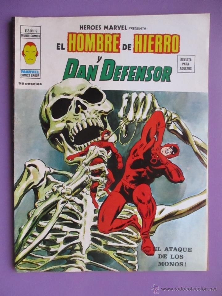 HEROES MARVEL Nº 19 VERTICE VOLUMEN 2, EL HOMBRE DE HIERRO Y DAN DEFENSOR, MUY BUEN ESTADO (Tebeos y Comics - Vértice - V.1)