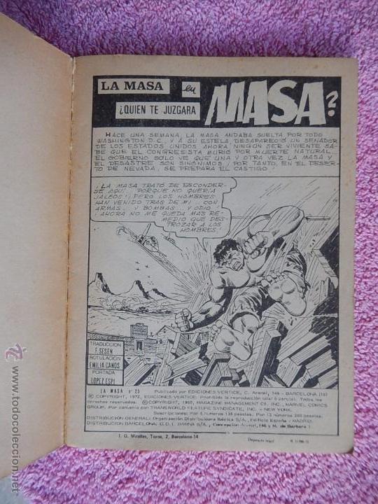 Cómics: la masa 25 ediciones vertice 1972 quien te juzgara masa vol 1 25 pesetas - Foto 2 - 54137681
