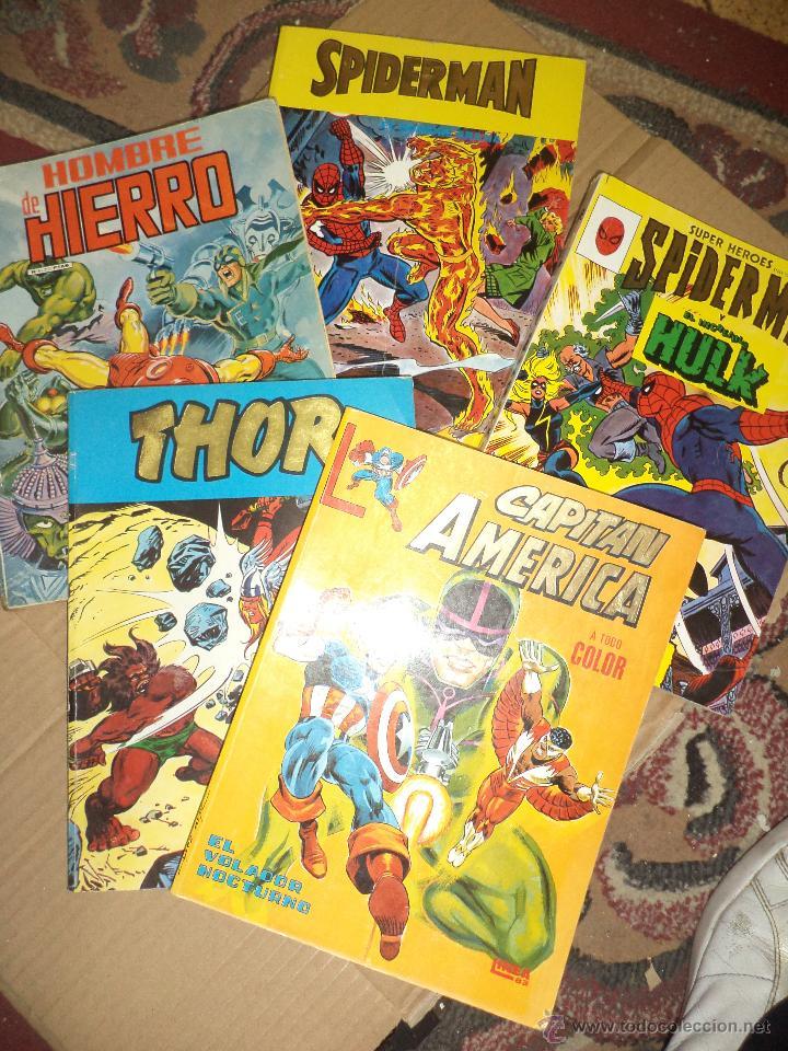 LOTE DE 5 RETAPADOS VÉRTICE MARVEL SPIDERMAN,HULK,IRON MAN,THOR Y CAPITÁN AMÉRICA.MUY DIFÍCILES. (Tebeos y Comics - Vértice - Otros)