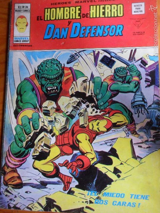 EL HOMBRE DE HIERRO Y DAN DEFENSOR - HEROES MARVEL PRESENTA V.2 Nº 34 - VERTICE (Tebeos y Comics - Vértice - Hombre de Hierro)