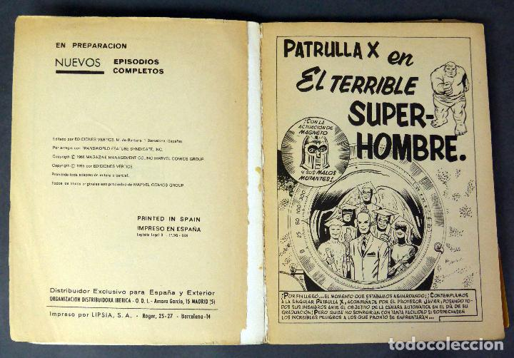Cómics: Marvel Patrulla X X Men El terrible superhombre nº 3 Ediciones Vértice 1969 - Foto 2 - 84725312