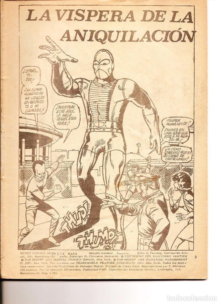 MUNDI COMICS - Nº 8 V. 3 LA MASA, ANIQUILACIÓN, 1974 FALTA PORTADA (Tebeos y Comics - Vértice - La Masa)