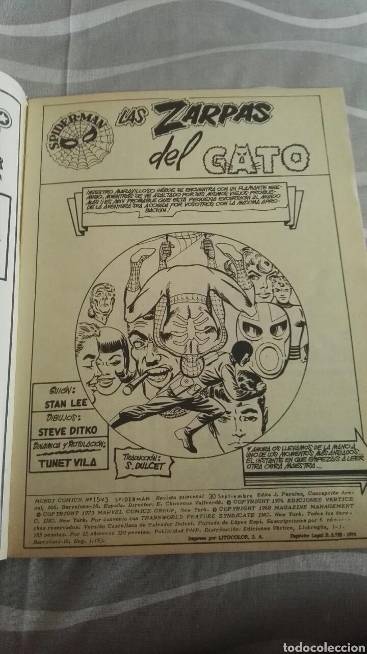 Cómics: Cómics Spiderman, V.3 N°15, Las Zarpas Del Gato, Ed. Vertice, 1974 - Foto 3 - 110870610