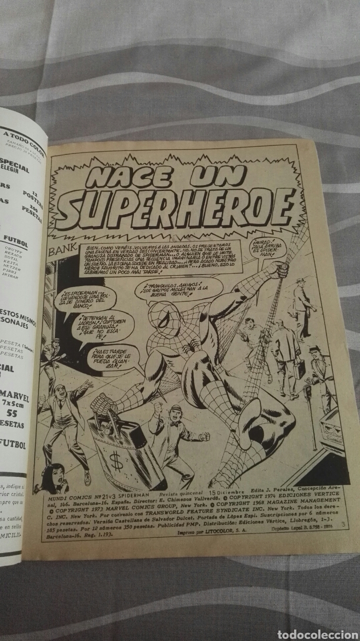 Cómics: Cómics Spiderman, V.3 N°21, ¡El Nacimiento De Un Super Héroe!, Ed. Vertice, 1974 - Foto 3 - 110874364