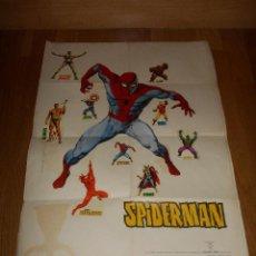 Cómics: ANTIGUO POSTER ORIGINAL DE SPIDERMAN SUPER HEROES MARVEL EDI. VERTICE AÑO 1972 CON 9 PEGATINAS. Lote 127276991