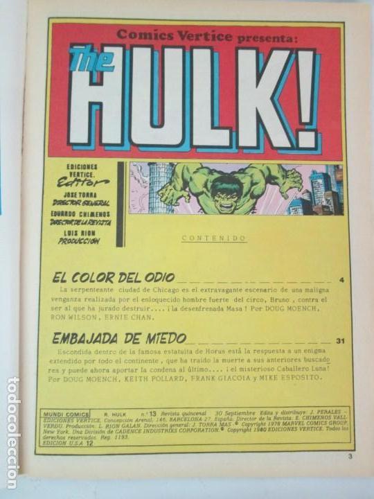 Cómics: THE RAMPAGING HULK. MUNDO COMICS VOL1. Nº 11-12-13-14-15 Y ESPECIAL 2. COMICS VERTICE. VER FOTOS - Foto 32 - 131593954