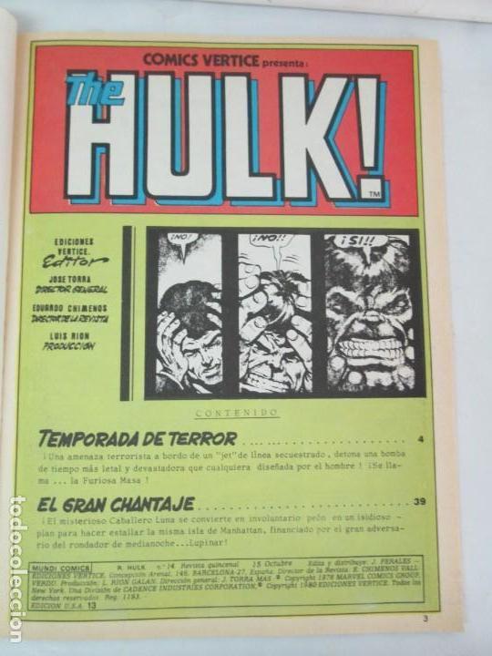 Cómics: THE RAMPAGING HULK. MUNDO COMICS VOL1. Nº 11-12-13-14-15 Y ESPECIAL 2. COMICS VERTICE. VER FOTOS - Foto 40 - 131593954