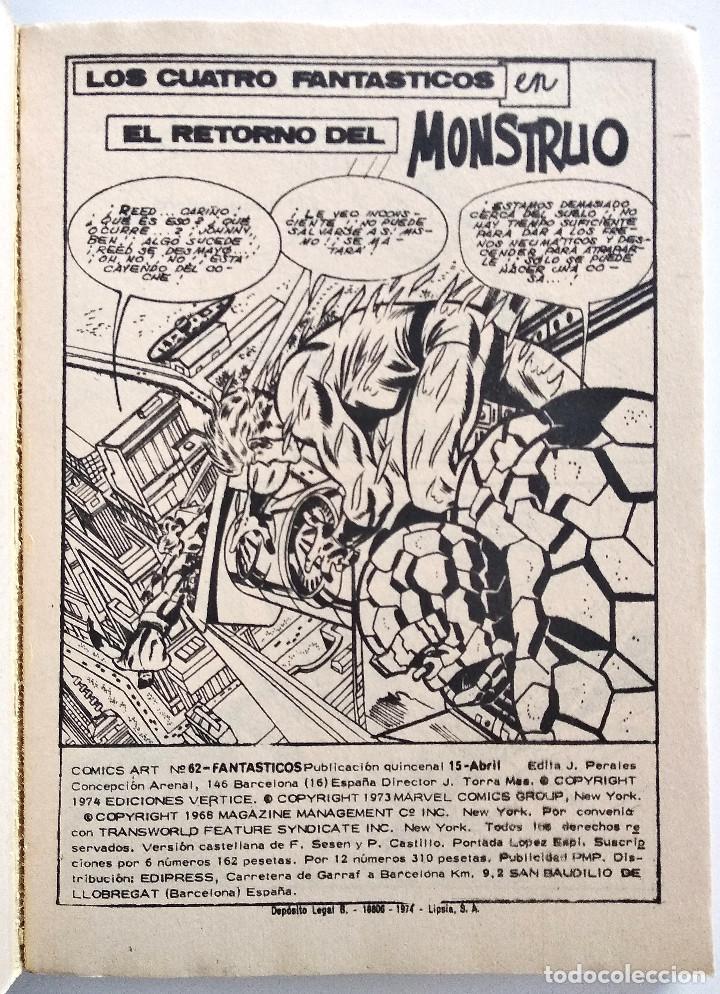 Cómics: LOS 4 FANTASTICOS VOL.1 Nº 62 - EDICIONES VÉRTICE AÑO 1973 - BUEN ESTADO - Foto 3 - 151519138