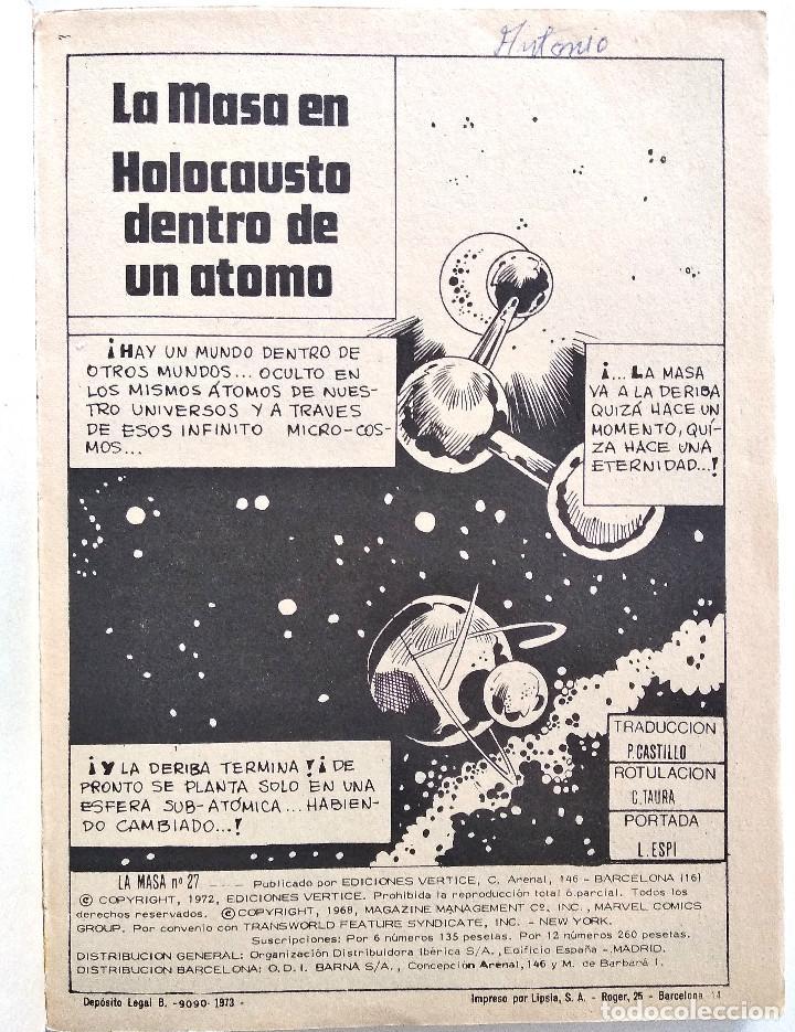 Cómics: LA MASA VOL.1 Nº 27 - EDICIONES VÉRTICE AÑO 1973 - BUEN ESTADO - Foto 3 - 151524482