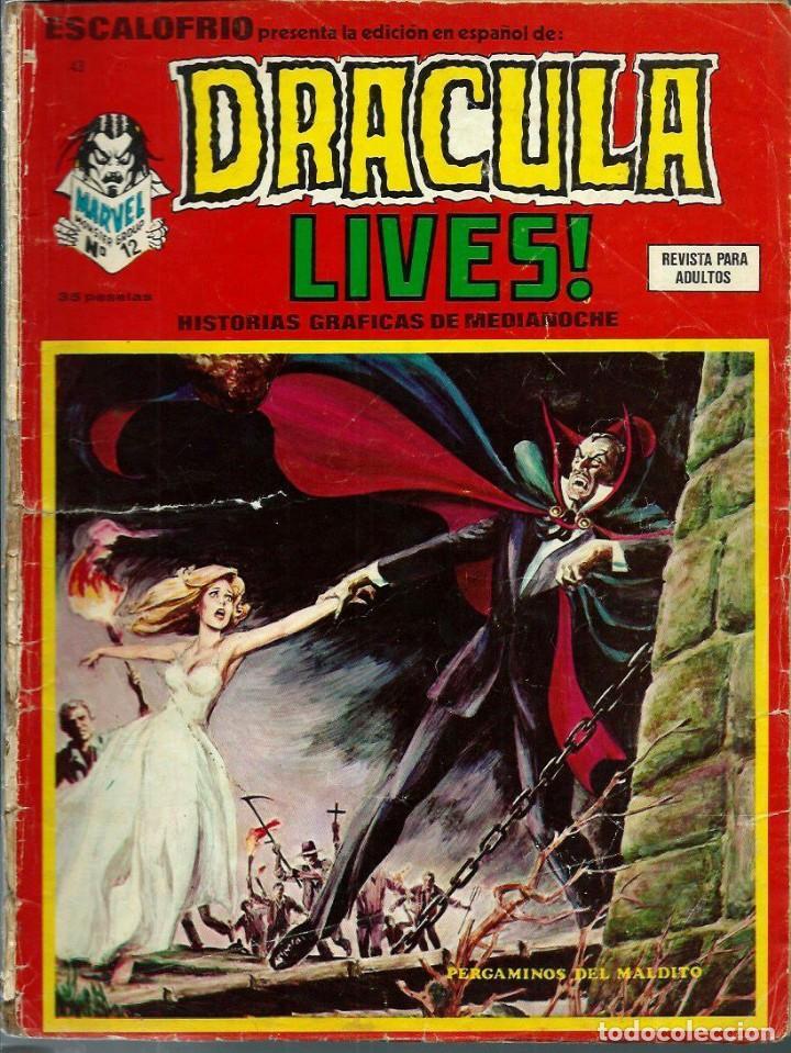 ESCALOFRIO Nº 43 - DRACULA LIVES Nº 12 - PERGAMINOS DEL MALDITO - VERTICE - MUY MUY DIFICIL (Tebeos y Comics - Vértice - Terror)